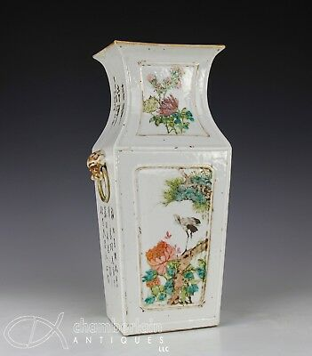Large Antique Chinese Qianjiang Porcelain Four Sided Vase With Writing