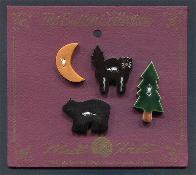 Ceramic Buttons Collection Bear, Cat, Orange Half & Pine Tree Set Of 4 Mill Hill