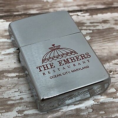 1977 Vintage Zippo Lighter Case - NO INSERT - The Embers Restaurant - Ocean City