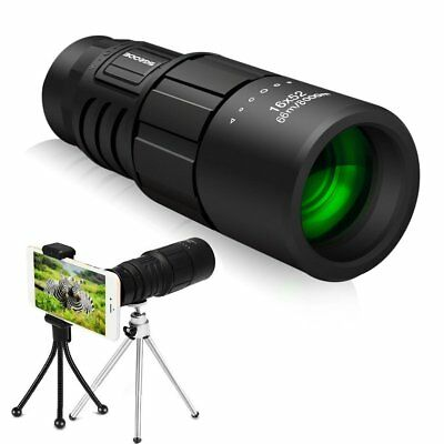 Super Clear 16x52 Monocular Telescope Day & Night Vision with Phone Adapter