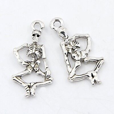 3 Skeleton Charms Antique Silver Tone Gothic Halloween Pendants 2 Sided 26mm