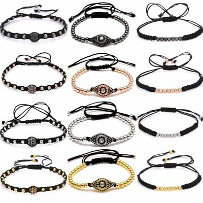 4mm Eyes Beads Black Rope Handmade Macrame Bracelet Bangle Men's Jewellery Gift