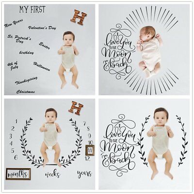 Newborn Baby Milestone Blanket Photo Photography Props Letter Backdrop CloCJNJ
