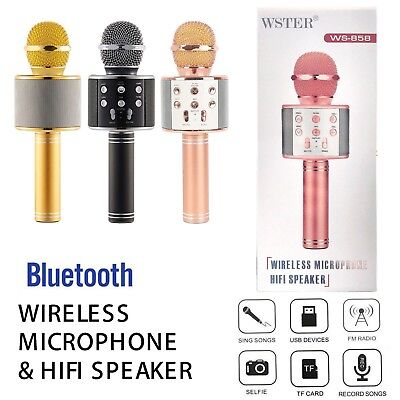 Bluetooth Wireless Microphone Karoke Stereo Player Mic Speaker KTV  Ws-858