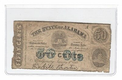 Civil War Era 1863 State of Alabama 50 Cents 50¢ Fractional Currency Note, Cr. 4