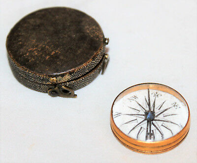 Small Antique English 18th Century Pocket Compass in Shagreen Case