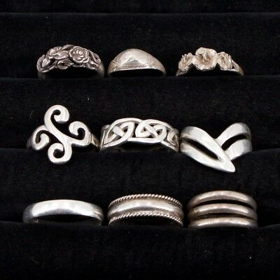 VTG Sterling Silver - Lot of 9 Assorted Solid Rings NOT SCRAP - 32.4g