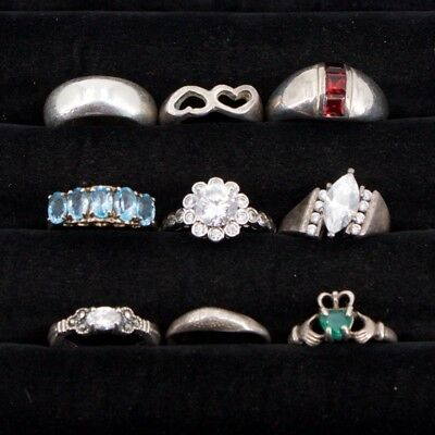 VTG Sterling Silver - Lot of 9 Assorted Solid & Gemstone Rings NOT SCRAP - 35g