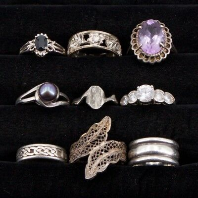 VTG Sterling Silver - Lot of 9 Assorted Solid & Gemstone Rings NOT SCRAP - 36.6g