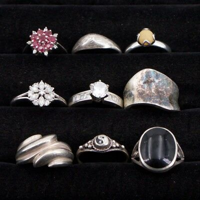 VTG Sterling Silver - Lot of 9 Assorted Solid & Gemstone Rings NOT SCRAP - 27.8g