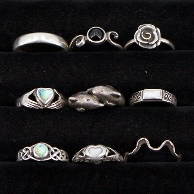 VTG Sterling Silver - Lot of 9 Assorted Solid & Gemstone Rings NOT SCRAP - 19g