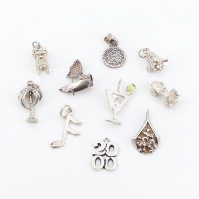 VTG Sterling Silver - Lot of 10 Assorted Charm Pendants NOT SCRAP - 17g