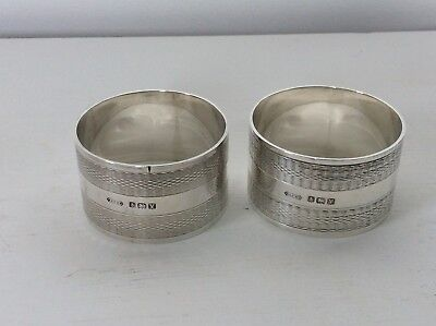 A Pair Of Good Quality Heavy Antique Solid Silver Napkin Rings. 1920