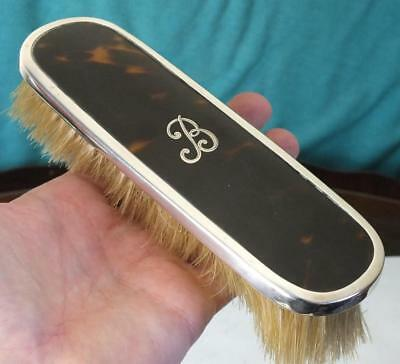 Solid Silver and faux Tortoiseshell Clothes Brush - Bham 1922 - Levi & Salaman