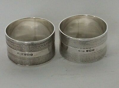 A Pair Of Good Quality Heavy Antique Solid Silver Napkin Rings. Birm 1920.