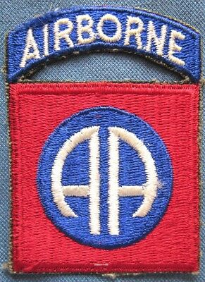"""WWII US Army 82nd Airborne Division shoulder patch with attached """"AIRBORNE"""" tab"""