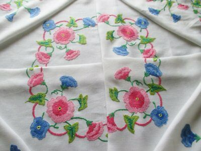 Vintage Tablecloth Hand Embroidered Morning Glory Flowers Blue & Pink