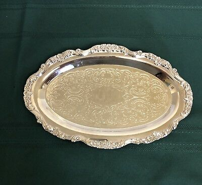 Vintage Poole Silverplate E.p.c.a. Lancaster Rose Small Oval Serving Tray #406