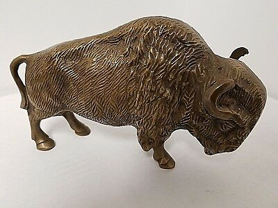 "Buffalo Bison Brass Miniature Figurine Animal Sculpture Souvenir Approx 7""LX5""H"