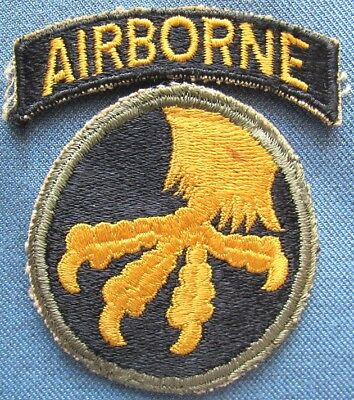 """WWII US Army 17th Airborne Division shoulder patch with separate """"AIRBORNE"""" tab"""