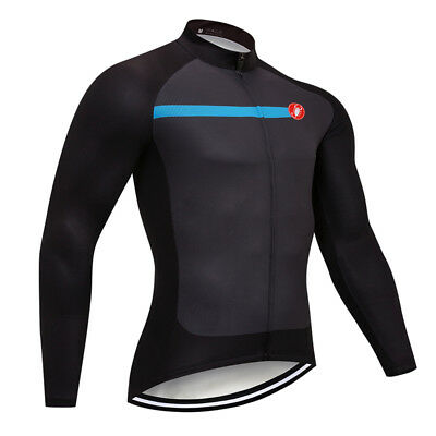 1776f0950 Mens New Long Sleeve Cycling Jersey Top Full Zip Breathable Lightweight S M  XXXL