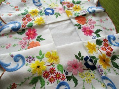 Vintage Tablecloth Hand Embroidered Flowers-Vibrant Colours-Linen
