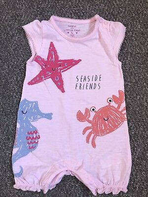 🦀F & F @ Tesco Seaside Romper 🐠Baby Girls 3-6 Months🐚