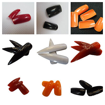 100x LONG FULL COVER FALSE FINGER NAILS HALLOWEEN ORANGE, BLACK, RED FREE UK P&P