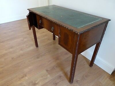 Mahogany antique writing desk with green leather inlay