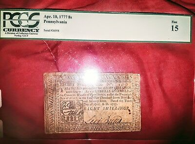 Pennsylvania Colonial 8 shilling currency graded note from 1777