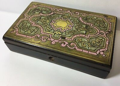 Antique Sewing Kit Case Pink Inlay Design Velvet Lined Superb Example