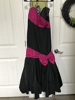 Vintage 80s Prom Dress High Low Hot Pink Dance Party Ruffle Big