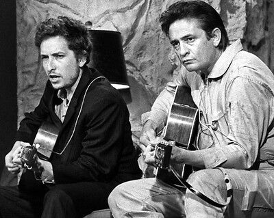 American Singer JOHNNY CASH & BOB DYLAN Glossy 8x10 Photo Music Print Poster