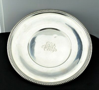 Hardy & Hayes Co Tuttle Sterling Large Plate Tray Rope Pattern Rim 763G 469.7 gr