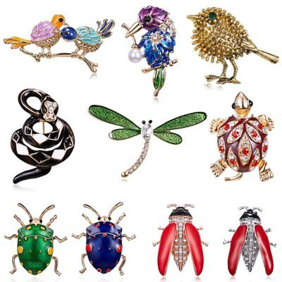 Animal Insect Dragonfly Bird Breastpin Brooch Pin Pearl Crystal Women Jewellery