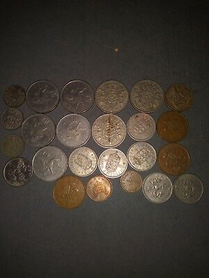 foreign coins #2f - british pre - decimal - 24 coins - mixed denominations
