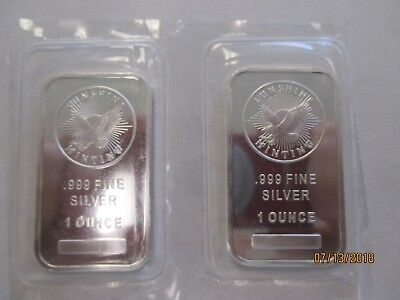 Sunshine Minting 1oz Silver Bar .999  set of 2
