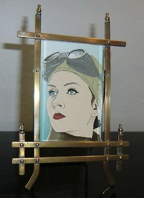 Antique English Victorian Brass Easel Style Desktop Picture/Photo Frame