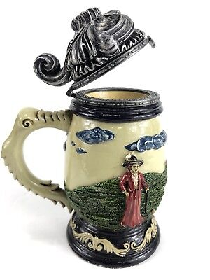 """Golfers Mini Beer Stein  Item 1-44 5"""" Tall by NINI Handcrafted And Hand Painted"""
