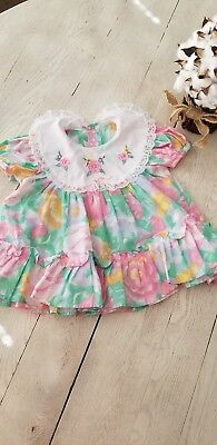 Vintage Toddler Girls Pink Floral  Dress 3-6  mths