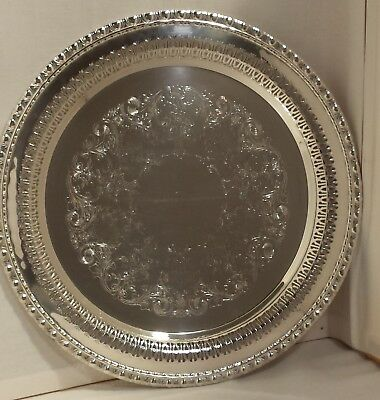 "Rogers & Bros Silver Plate 12"" Tray Mayfair #1770 Reticulated W/ Etched Center"