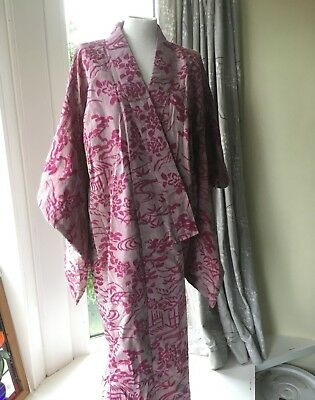 Handmade kimono, Japanese, genuine, silk, full length, fully lined, beautiful