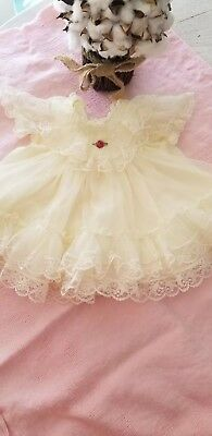 Vintage Baby  Girls sheer frilly lace  Dress 0-3  mths