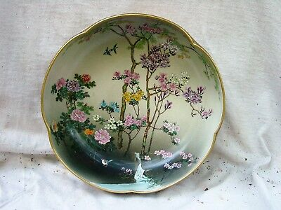 Excellent 8 Inch Japanese Satsuma Bowl Marked Nr