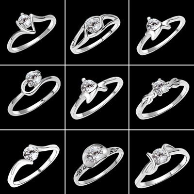 Wedding Plain Flower Zircon Crystal Rhinestone Finger Rings Women Jewellery Gift