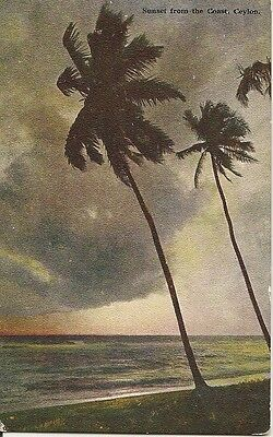 Ceylon Colour Post Card, Plate No.9 Sunset From The Coast. Early Colour Postcard