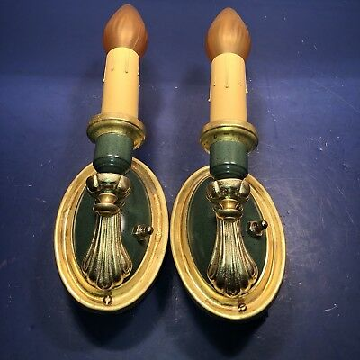 Wired Pair Sconces Vintage yellow brass with a fresh industrial green finish 29D