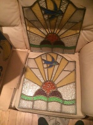 Architectural Salvage Pair Art Deco RISING SUN SWALLOW Stained Glass Plaques