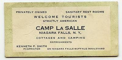 Vintage 1910s Mini Ink Blotter CAMP LA SALLE Camping Cottages NIAGARA FALLS NY