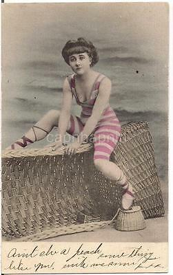 Vtg Tinted Pink Striped Swimsuit Woman On Weaved Basket By Oceanside Postcard